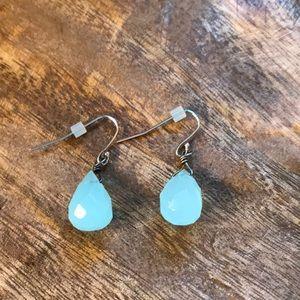 Opaque blue tear drop earrings.